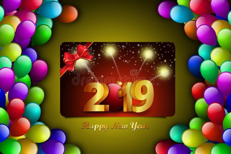 Het gelukkige concept van de Nieuwjaar 2019 viering op kleurenachtergrond royalty-vrije stock foto's