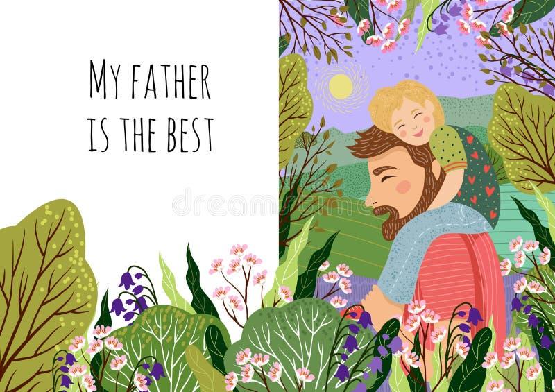 Het gelukkige concept van de vadersdag, mijn papa s de beste Leuke vectorfamilieillustratie voor een feestelijke affiche, een ban royalty-vrije illustratie