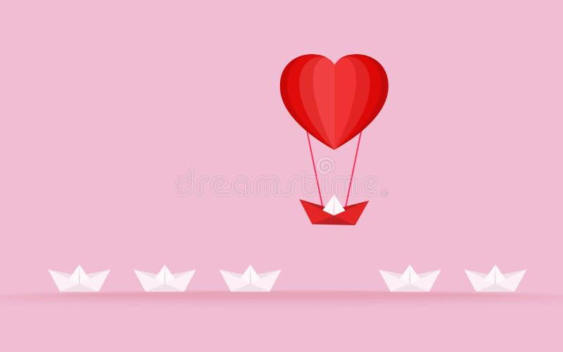 Het gelukkige concept van de valentijnskaart` s dag liefde Opmerkelijk de Bootstijgingen hierboven met de hete luchtballon van de vector illustratie