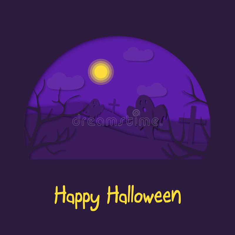 Het gelukkige 3d abstracte document van Halloween sneed illlustration van begraafplaats, maan, spoken royalty-vrije illustratie