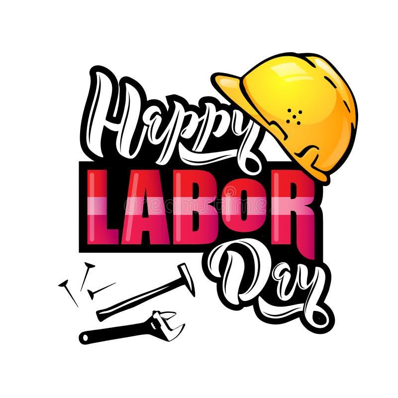 Het gelukkige Dag van de Arbeid van letters voorzien Beeldverhaalontwerp met bouwhulpmiddelen en beschermende helm royalty-vrije illustratie