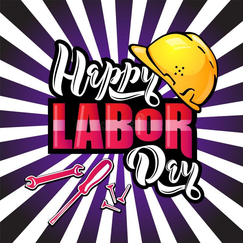Het gelukkige Dag van de Arbeid van letters voorzien Beeldverhaalontwerp met bouwhulpmiddelen en beschermende helm op de achtergr stock illustratie