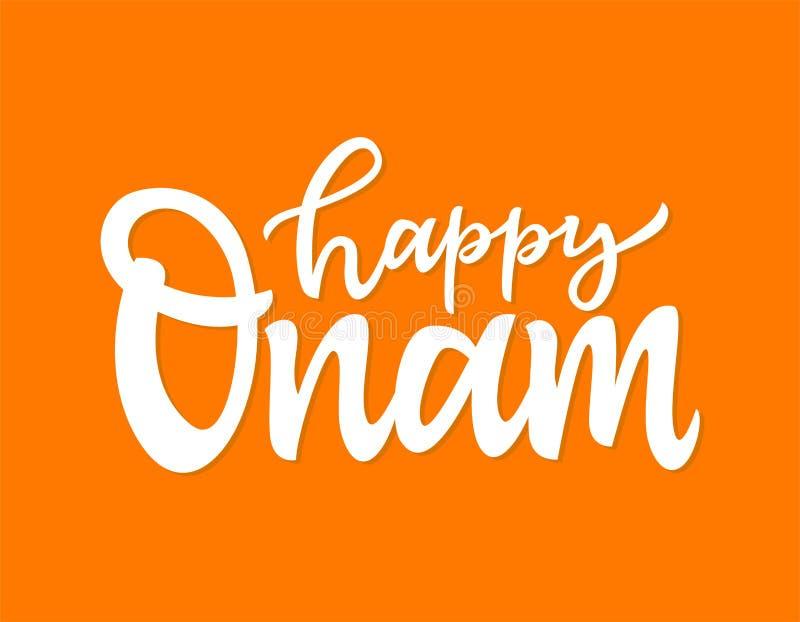 Het gelukkige de borstelpen van Onam- vectorhand getrokken van letters voorzien stock illustratie