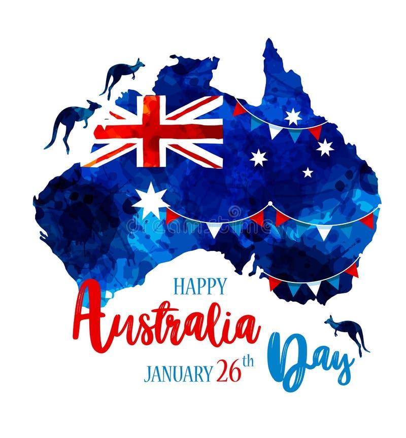 Het gelukkige de dag van Australië van letters voorzien De kaart van Australië met vlag op een blauw bevlekt hand getrokken achte stock illustratie