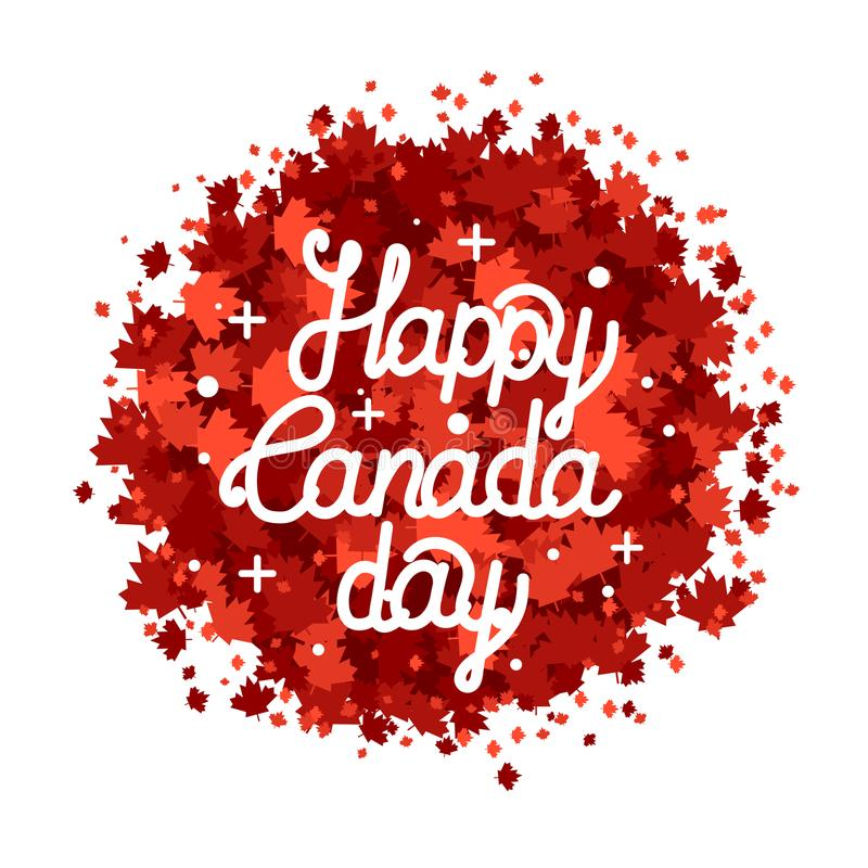 Het gelukkige de Dag van Canada hand getrokken van letters voorzien De textuur van esdoornbladeren royalty-vrije illustratie