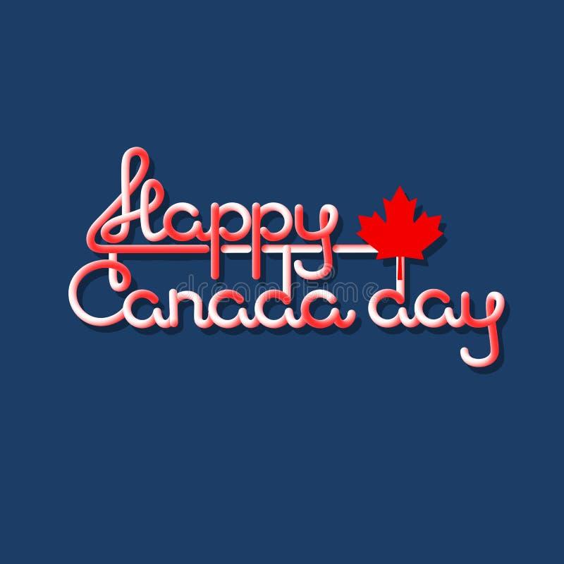 Het gelukkige de Dag van Canada van letters voorzien geïsoleerd op blauw Vector vector illustratie