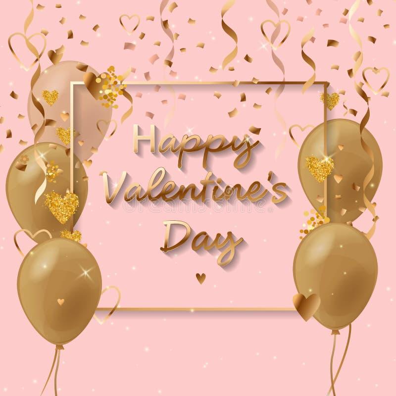 Het gelukkige de Dag van Valentine s hand getrokken uitstekende van letters voorzien gemaakt van gouden zand op dark De Dag van h royalty-vrije illustratie