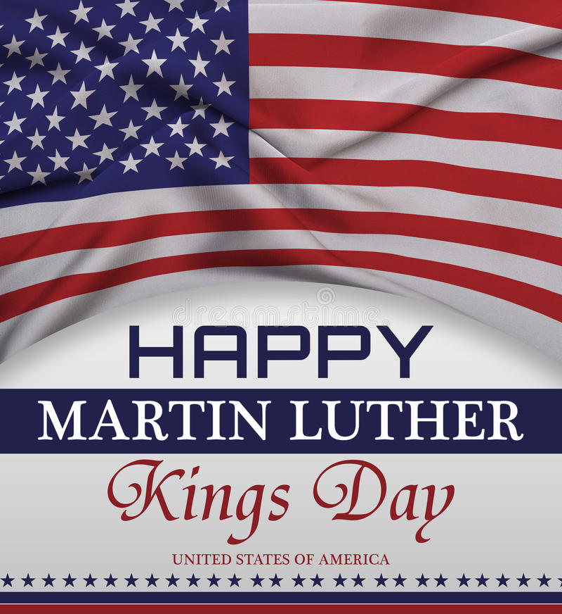 Het gelukkige de groet van de de koningsdag van Martin luther van letters voorzien, Amerikaanse vlag royalty-vrije stock fotografie
