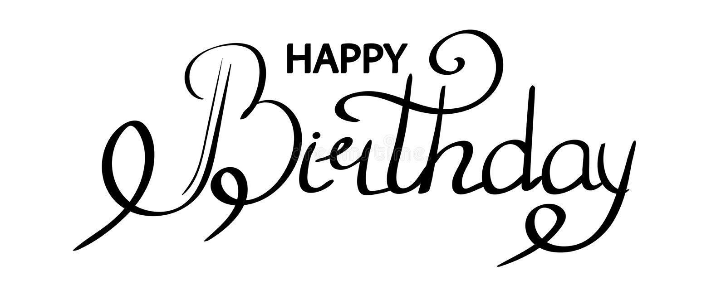 Het gelukkige de hand van de verjaardagstekst van letters voorzien, de zwarte die kaart van de inschrijvingsgroeten van het typog vector illustratie