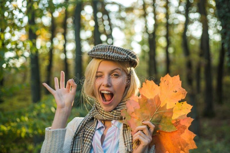 Het gelukkige de herfstmeisje knipoogt, o.k. De herfst openlucht atmosferische ogenblikken en droom De herfst en bladdalingsdrome royalty-vrije stock foto
