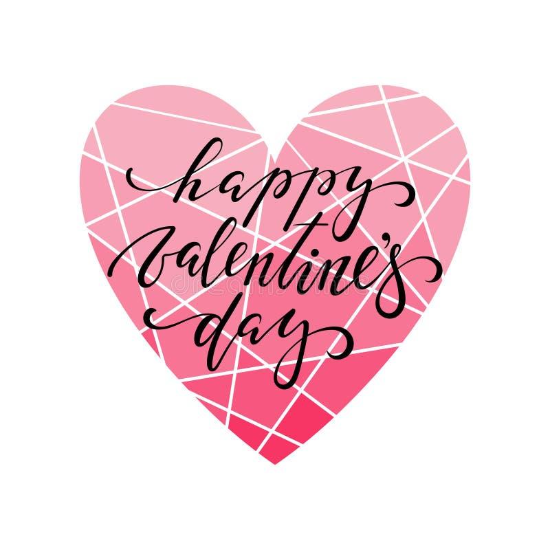 Het gelukkige de kalligrafie en de borstelpen van de valentijnskaart` s dag Hand getrokken van letters voorzien met kadergrens stock illustratie