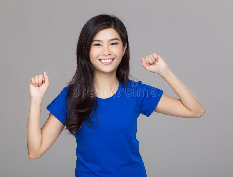 Download Het Gelukkige De Vrouw Van Azië Vieren Stock Afbeelding - Afbeelding bestaande uit mooi, volwassen: 39101257