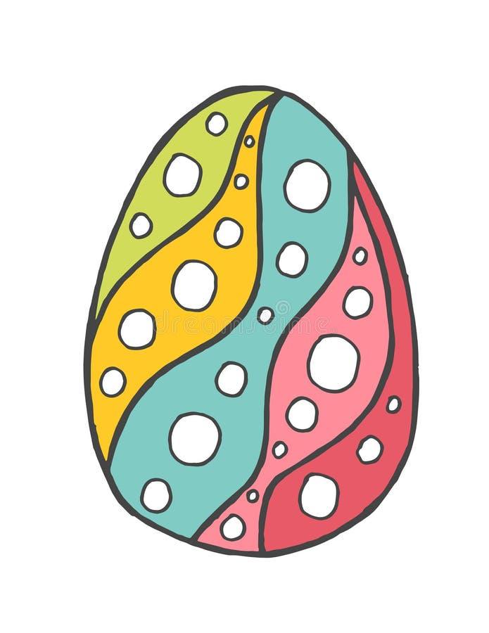 Het gelukkige die ei van Pasen zentangle met ornament, het element van de ontwerpkrabbel wordt verfraaid vector illustratie