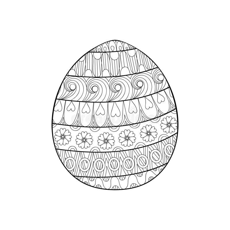 Het gelukkige die ei van Pasen zentangle met ornament, ontwerp wordt verfraaid doodl royalty-vrije illustratie