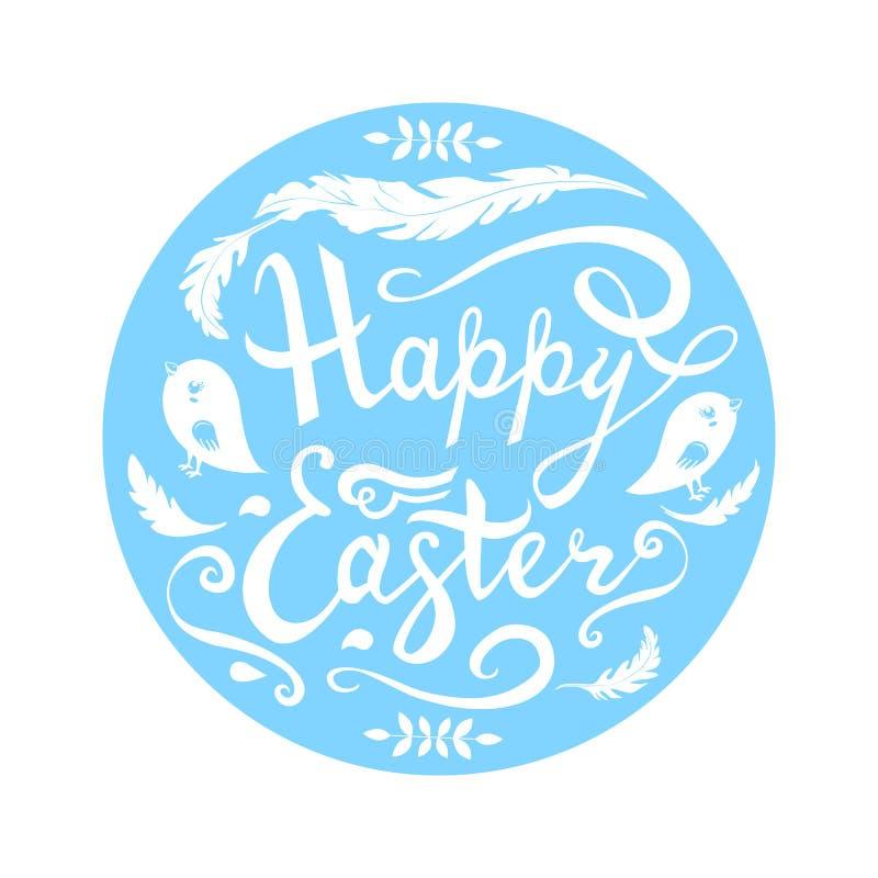 Het gelukkige die Pasen-van letters voorzien met vogels, kruiden en veren in cirkel op witte achtergrond wordt ge?soleerd vector illustratie