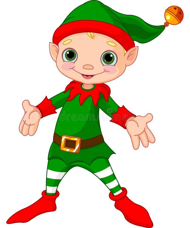 Het gelukkige Elf van Kerstmis royalty-vrije illustratie