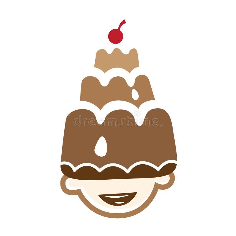 Het gelukkige Embleem van de Cake van de Verjaardag royalty-vrije illustratie
