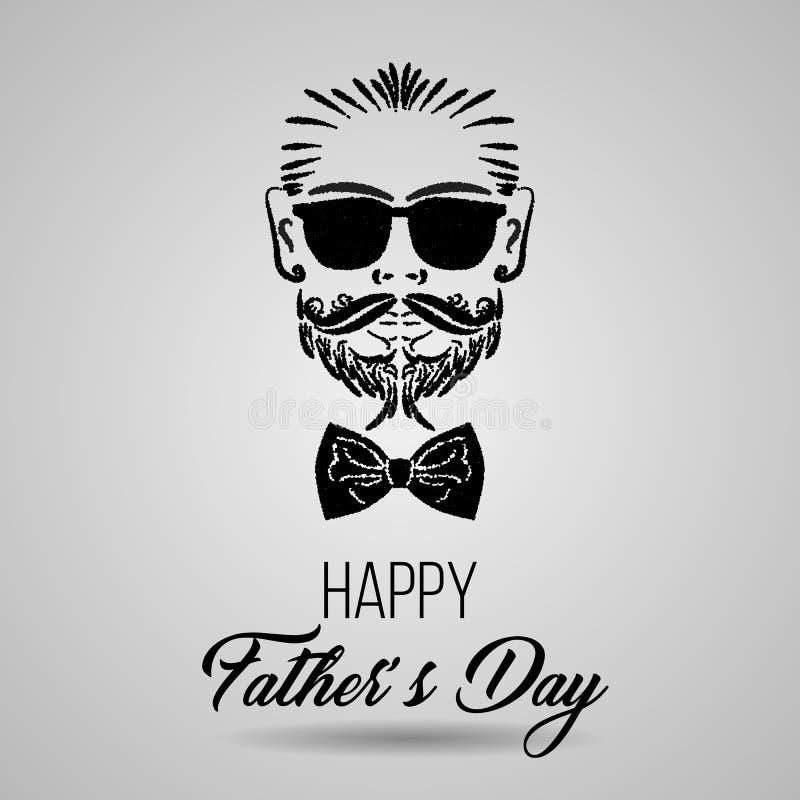 Het gelukkige embleem van de Vader` s Dag hipster in geïsoleerd Vector illustratie Eps 10 royalty-vrije illustratie