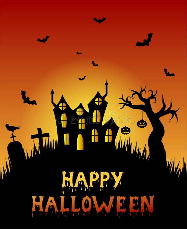 Het gelukkige Enge Kasteel van Halloween met Onvruchtbaar Boom en Kerkhof vector illustratie