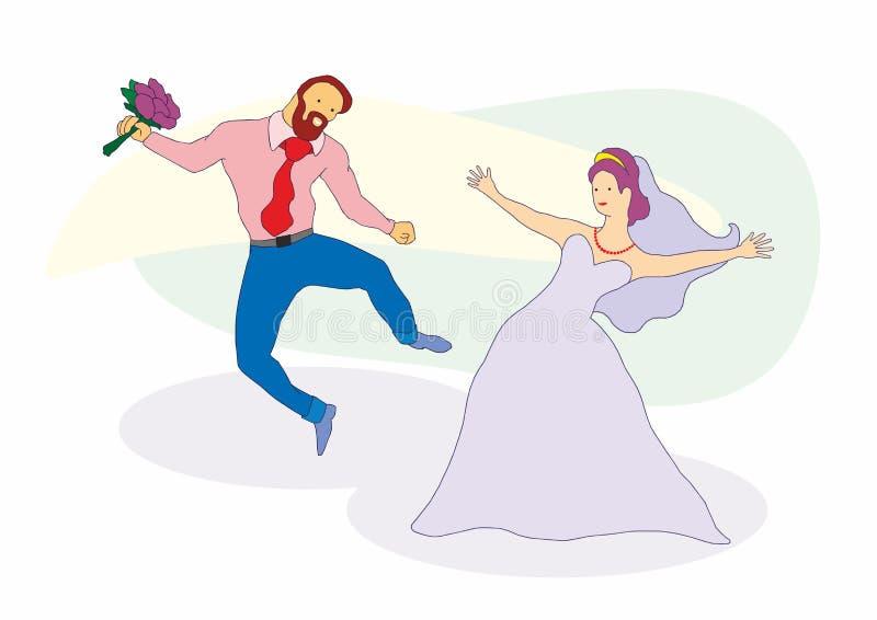 Het gelukkige enkel gehuwde jonge paar vieren en heeft pret De viering van het huwelijk royalty-vrije illustratie