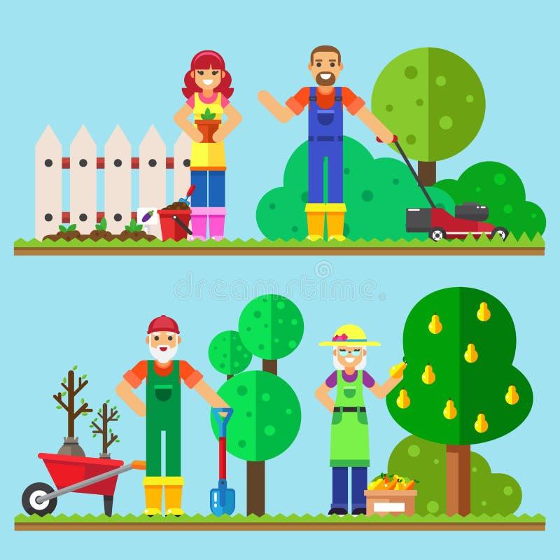 Het gelukkige familie tuinieren die in de tuin werken stock foto's