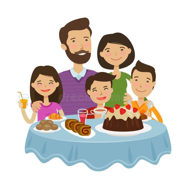 Het gelukkige familie vieren Het concept van de vakantie De vectorillustratie van het beeldverhaal royalty-vrije illustratie