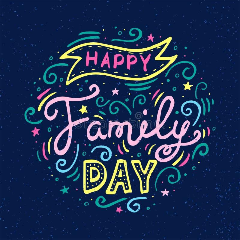 Het gelukkige Familiedag Van letters voorzien Vectorillustratie op blauwe achtergrond vector illustratie