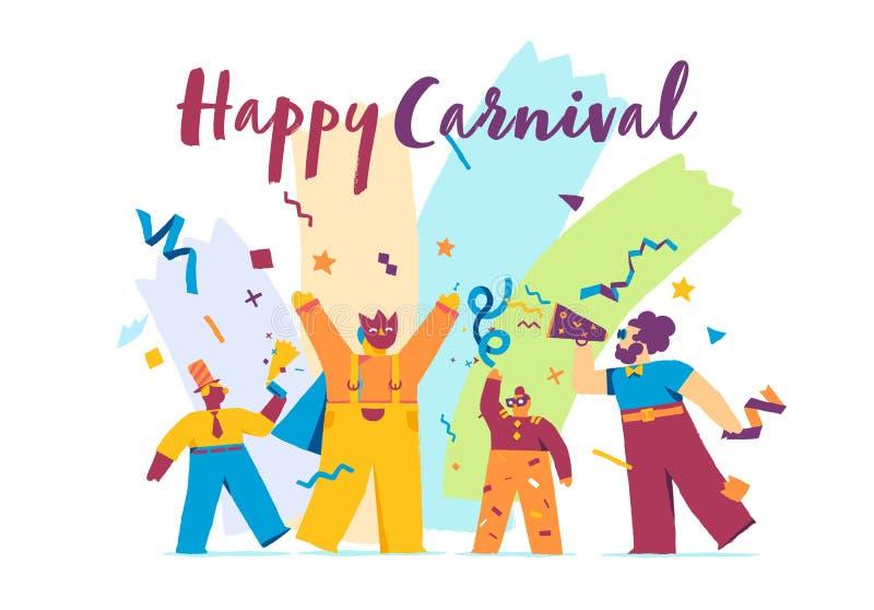 Het gelukkige Feestelijke Concept van Carnaval met Grappig Karaktersmasker vector illustratie