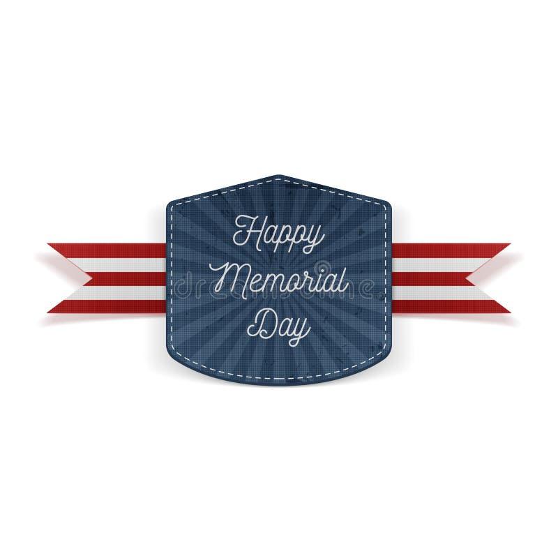 Het gelukkige feestelijke Embleem van Memorial Day met Lint royalty-vrije illustratie