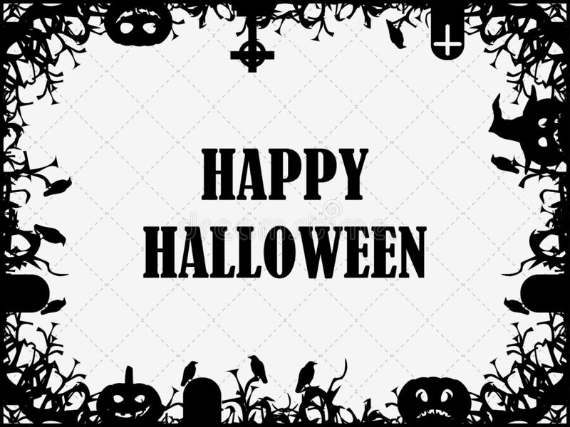 Het gelukkige Feestelijke kader van Halloween 31 Oktober met pompoenen, graven, raven en enge takken De groetkaart van de vakanti vector illustratie