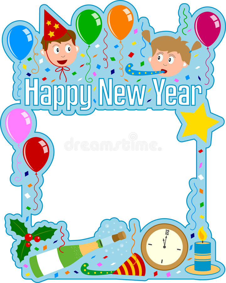 Het gelukkige Frame van het Nieuwjaar stock illustratie