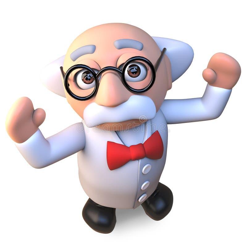 Het gelukkige gekke karakter die van de wetenschapperprofessor met vreugde 3d illustratie toejuichen stock illustratie