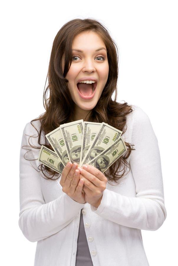 Het gelukkige geld van de vrouwenholding royalty-vrije stock foto