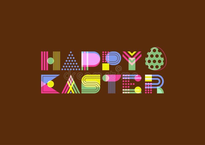 Het gelukkige geometrische van letters voorzien van Pasen Overlappende creatieve doopvont op donkere achtergrond royalty-vrije illustratie