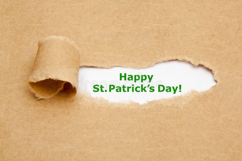 Het gelukkige Gescheurde Document van StPatricks Dag stock fotografie