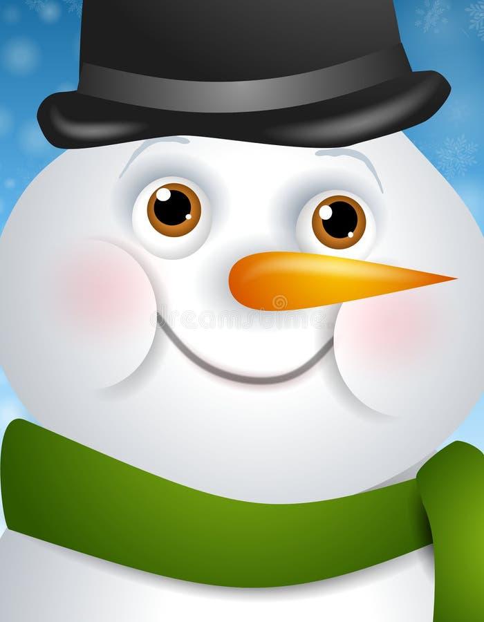 Het gelukkige Gezicht van de Sneeuwman royalty-vrije illustratie