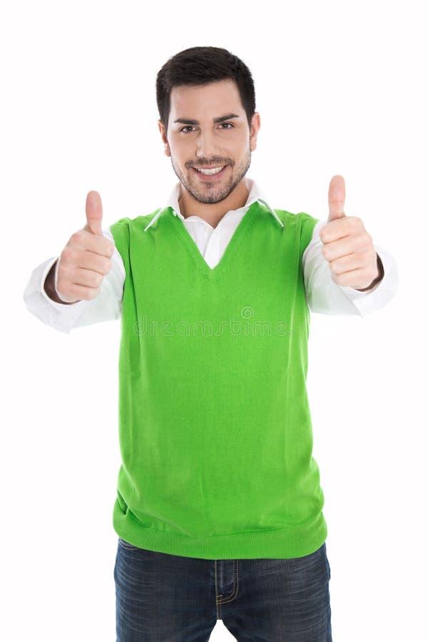 Het gelukkige glimlachen en geïsoleerde mens in groene trui met omhoog duimen stock fotografie