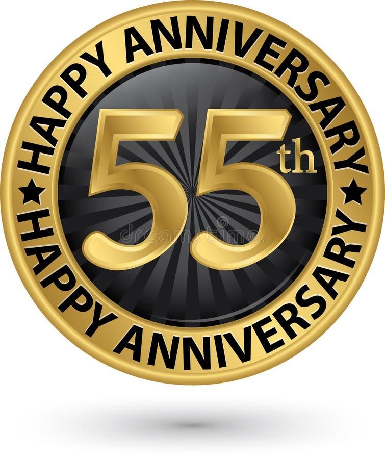 Het gelukkige gouden etiket van de de 55ste jarenverjaardag, vector stock illustratie