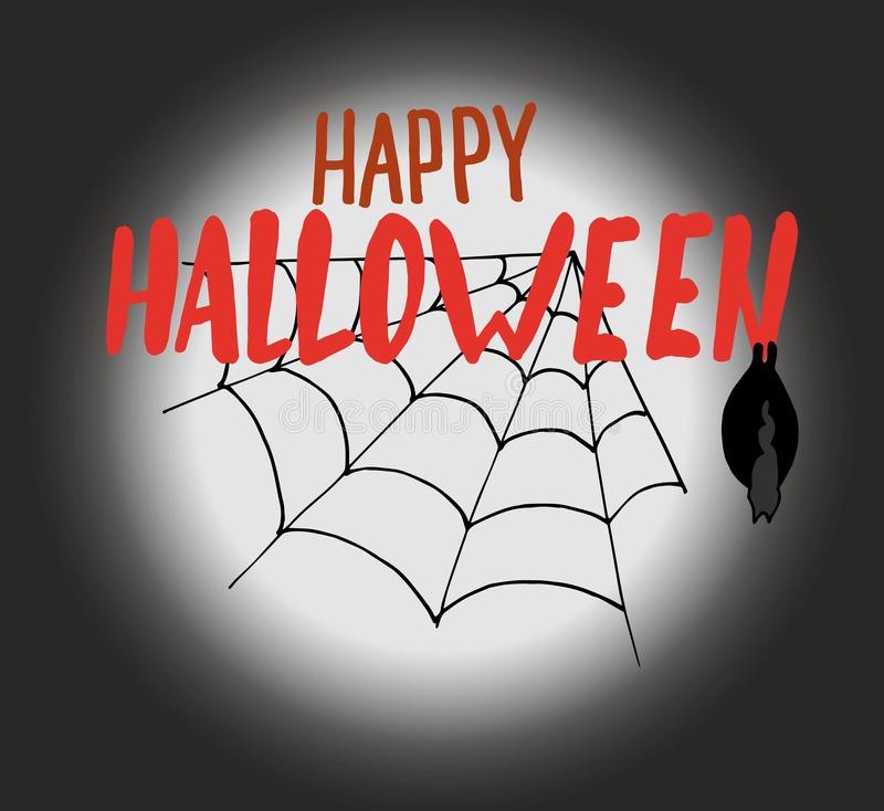 Het gelukkige Halloween-hand-trekkende lettring op een donkere achtergrond van de maan met een spinneweb en een knuppel Vector il stock illustratie