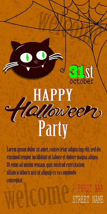 Het gelukkige Halloween-malplaatje van de uitnodigingskaart met spiderweb en tekst stock illustratie