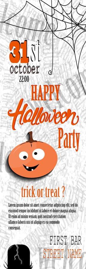 Het gelukkige Halloween-malplaatje van de uitnodigingskaart met spiderweb en tekst vector illustratie