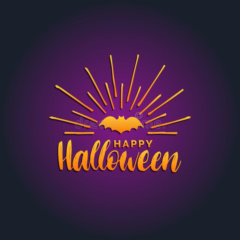 Het gelukkige Halloween-van letters voorzien met knuppel vectorillustratie voor de kaart van de partijuitnodiging, affiche Al ach vector illustratie