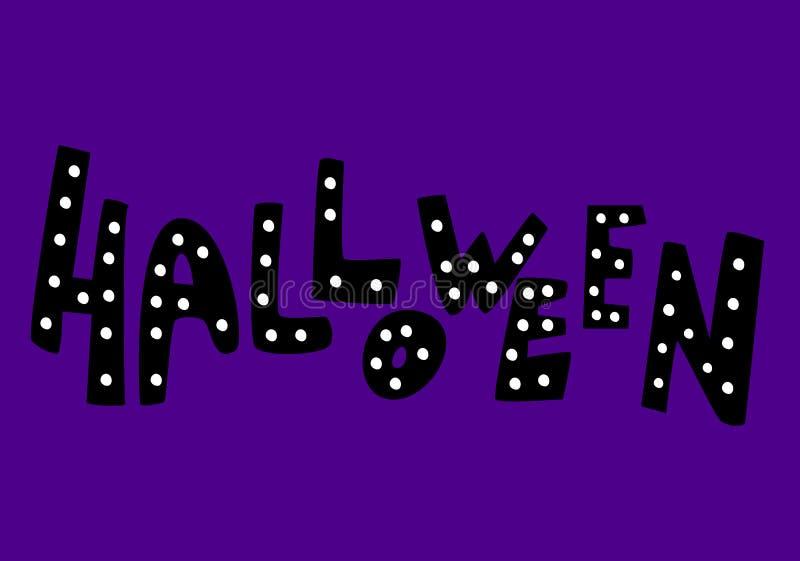 Het gelukkige Halloween-van letters voorzien, pictogrammen: dunne zwart-wit pictogramreeks, zwart-witte uitrusting Griezelig en g vector illustratie
