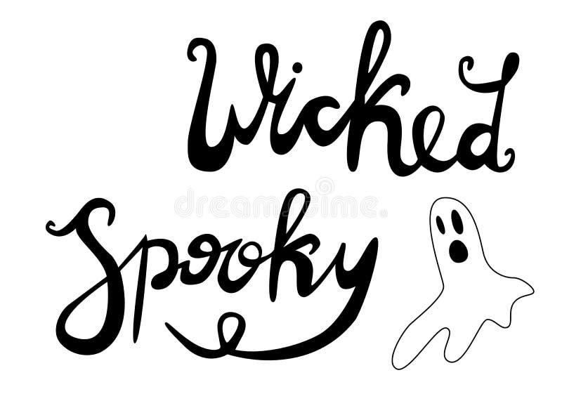 Het gelukkige Halloween-van letters voorzien, pictogrammen: dunne zwart-wit pictogramreeks, zwart-witte uitrusting Griezelig en g royalty-vrije illustratie