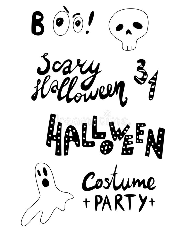 Het gelukkige Halloween-van letters voorzien, pictogrammen: dunne zwart-wit pictogramreeks, zwart-witte uitrusting Griezelig en g stock illustratie
