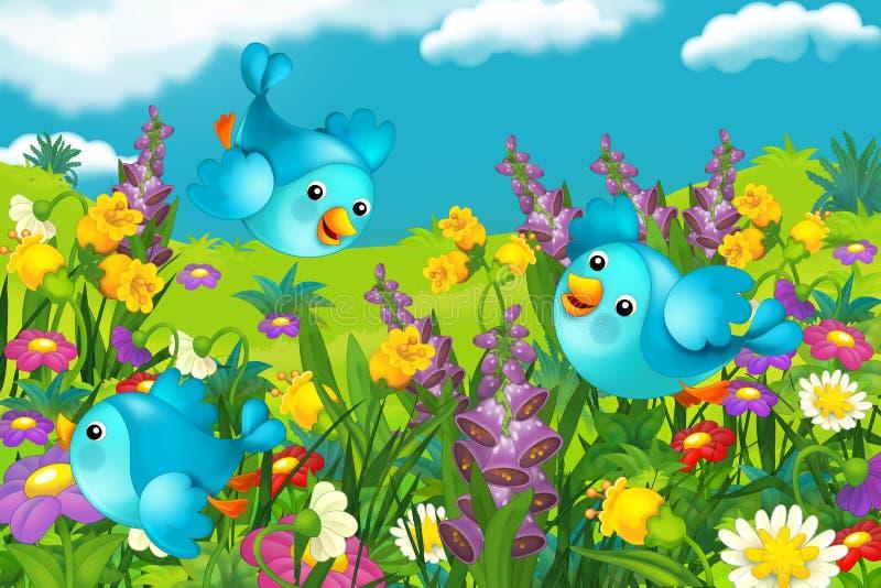 Het gelukkige het kijken landschap van een aard - illustratie voor de kinderen vector illustratie