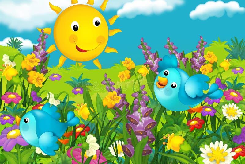 Het gelukkige het kijken landschap van een aard - illustratie voor de kinderen stock illustratie