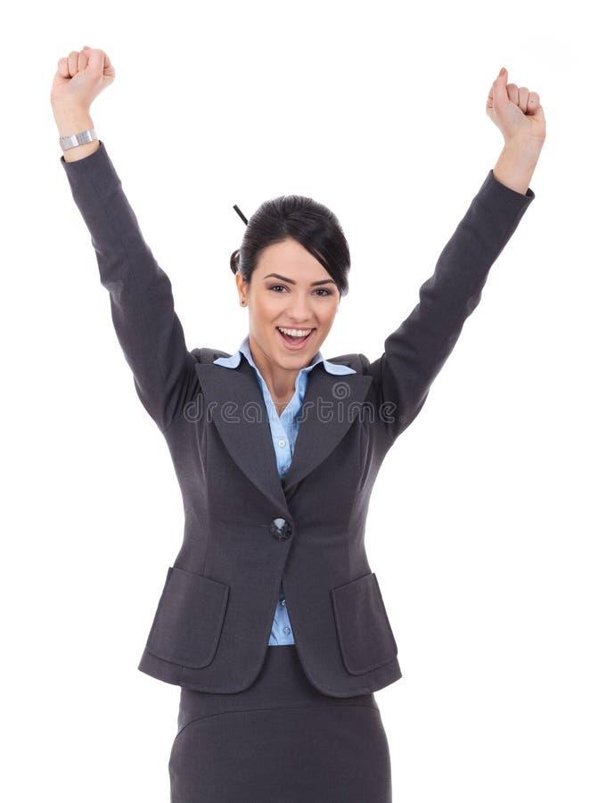 Het gelukkige het toejuichen onderneemster winnen stock foto