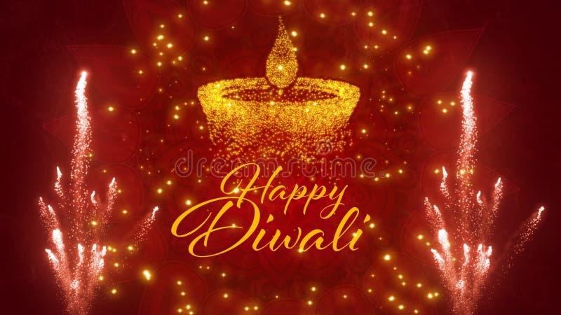 Het gelukkige Hindoese festival van Diwali van lichtengroeten stock illustratie