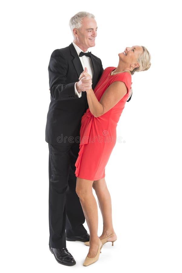 Het gelukkige Hogere Paar Dansen stock afbeelding